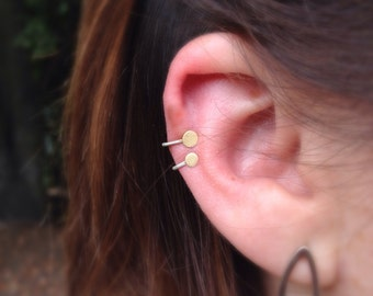 Set of Two Gold Minimalist 18k Ear Cuff hammered dot. No piercing.