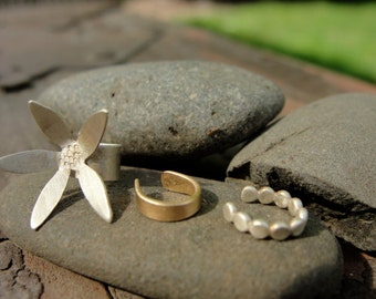 Gold and Sterling Silver Ear Cuff Set with Flower. Hammered Gold Filled. No piercing.