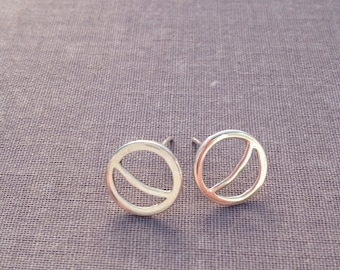 Sterling Silver Crescent Moon Stud Earrings. Minimalist. Geometric. Circle.
