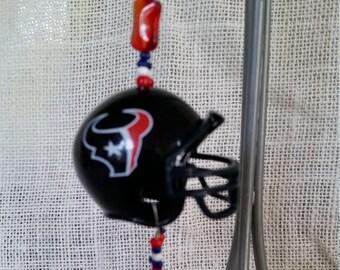 Mini NFL Houston Texans helmet rear view mirror charm