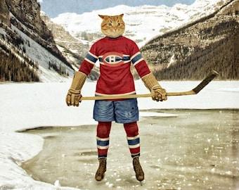 Montreal Canadiens Habs Cat Print - Hockey Poster Art - 5x7 8x10 11x14