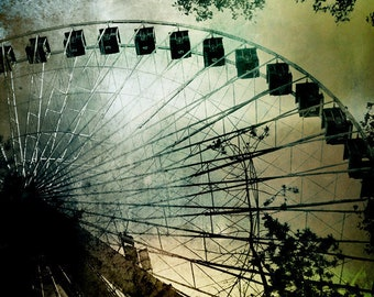 Ferris Wheel Art Carnival Decor Photography Montreal Art Dramatic La Ronde Silhouette Green Print- The Quest for Wonder