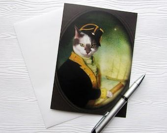 Cat Greeting Card 5x7 Pirate Ship White Backdrop Nautical Tall Stationery Animal Photo Pet Portrait