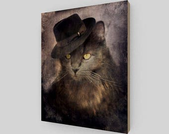 caf1c216808d0 Gangster Cat Wooden Art Print - Miloe Micheletti