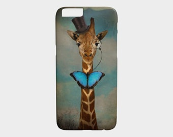 iPhone 6 / 6S case iPhone 8 X Galaxy Giraffe S7 S8 Cellphone Case Butterfly Animal photography Pet Portrait - Sir Alfred