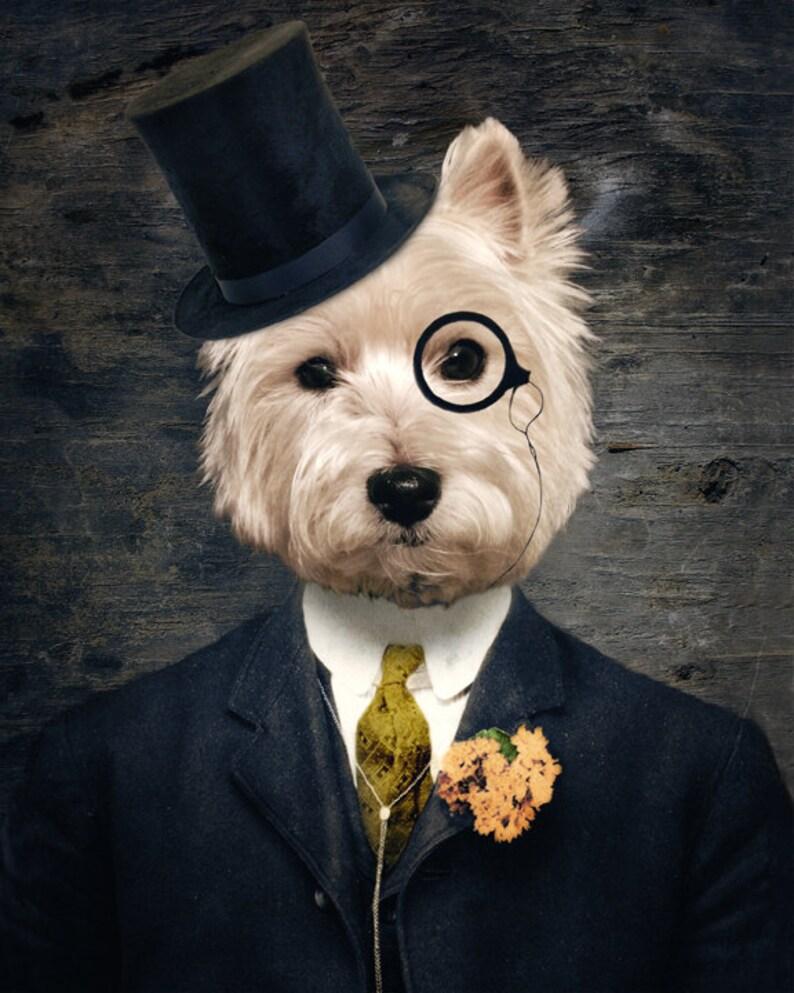 Westie Art Dog Print Westies West Highland Wood Wall Art Sir Bunty
