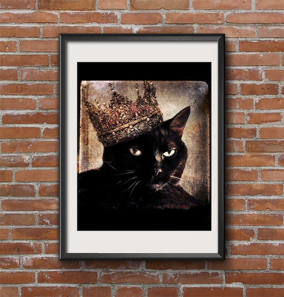 Queen Black Cat Art Wearing A Crown Pet Portrait Gift For Cat Etsy