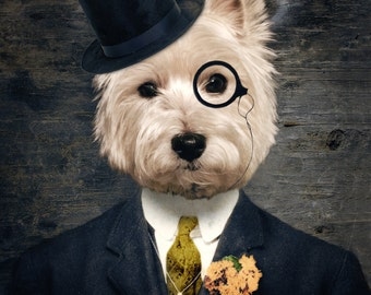 Westie Art Dog Print Westies West Highland Terrier Pet Portrait Animal Art Photography Dog Print Lonely Pixel Print - Sir Bunty