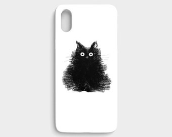 iPhone 6 / 6S case Cat Art Black Cat iPhone 8 X Galaxy S7 S8 Cellphone Case Drawing Animal photography Pet Portrait - Duster