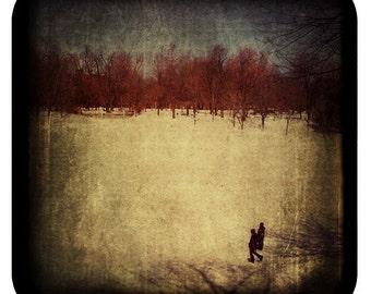 Landscape Photography - Montreal Art - Snowy - Canadian Winter - Dark Grainy - Parc La Fontaine - Quebec Canada Print - The Long Winter Walk