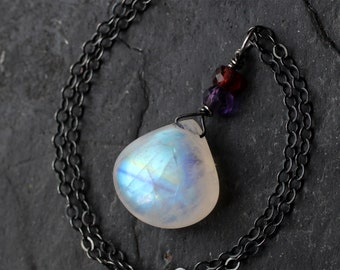 Rainbow Moonstone Pendant 925 Silver Auralite Amethyst Necklace Sterling Silver