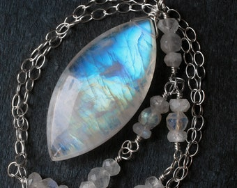 "Moonstone Necklace, Big Moonstone Jewelry, Rainbow Moonstone Pendant, Sterling Silver, June Birthstone, CircesHouse, ""Odin"""