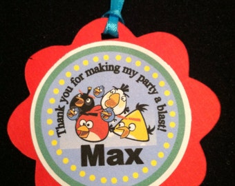 12 Angry Birds favor tags / Cupcake Toppers- Custom Personalized to fit your need