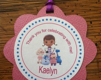 12 Doc McStuffins Thank You favor tags / Cupcake Toppers - Custom Personalized to fit your need