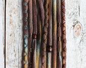 10 Tie-Dye (READY to SHIP) Clip-In or Braid-in Wool Dreads Wrapped & Beaded Bohemian Hippie Dreadlocks