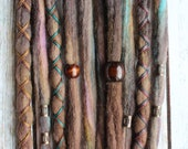 10 Custom Clip In or Braid In Dreadlock Extensions Color Mix: Brunette Vibes  LE Boho Tie-Dye Wool Synthetic Dreads Hair Wraps and Beads