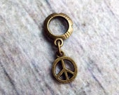 Antiqued Brass Peace Sign Dreadlock Accessory