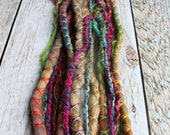 """8 Tie-Dye 18-21"""" (READY to SHIP) Clip-In Wool and Blonde Mix Synthetic Hair Dreads Wrapped & Beaded Bohemian Hippie Dreadlocks"""