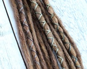 """10 pc 13-15"""" (READY to SHIP) Clip-In or Braid in Warm Brunette Mix Synthetic Hair Dreads Wrapped & Beaded Bohemian Hippie Dreadlocks"""