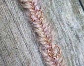 1 Clip In or Braid In Messy Fishtail Braid Extension with Hair Ring Synthetic Hair Boho Viking Hair Extension Pick Your Hair Color