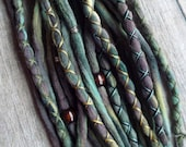 "20 Tie-Dye 15"" (READY to SHIP) Clip In or Braid in Wool Dreads Wrapped & Beaded Bohemian Hippie Dreadlocks"