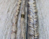 3 Clip In or Braid In Dreadlock Extensions with Messy Fishtail Braids Custom Synthetic Hair Boho Dreads Hair Wraps & Beads