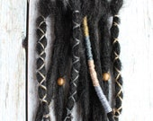 "10 pc 8"" (READY to SHIP) Clip-In or Braid in Black Synthetic Hair Dreads Wrapped & Beaded Bohemian Hippie Dreadlocks"