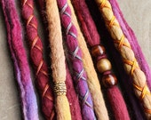 10Custom Clip In or Braid In Dreadlock Extensions Color Mix: Solids Warm Mix Boho Tie Dye Wool Synthetic Dreads Hair Wraps and Beads