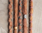 5 Custom Clip In or Braid In Dreadlock Extensions Standard Synthetic Hair Boho Dreads Hair Wraps & Bead (Strawberry 30)