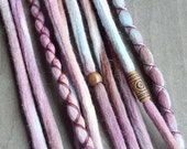 10 Custom Clip In or Braid In Dreadlock Extensions Color Mix: Pomegranate Boho Tie Dye Wool Synthetic Dreads Hair Wraps and Beads