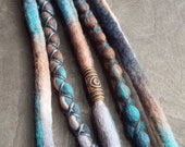 5 Custom Clip In or Braid In Dreadlock Extensions Color Mix: Native Boho Tie Dye Wool Synthetic Dreads Hair Wraps and Beads