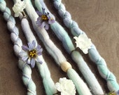 5 Custom Clip In or Braid In Dreadlock Extensions Color Mix: Dewdrop Flower Boho Tie Dye Wool Synthetic Dreads Hair Wraps and Beads