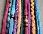 10 Custom Clip In or Braid In Dreadlock Extensions Color Mix: Solids Mix Boho Tie Dye Wool Synthetic Dreads Hair Wraps and Beads