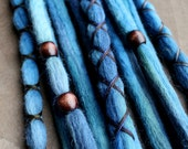 10 Custom Clip In or Braid In Dreadlock Extensions Color Mix: Deep Blue Boho Tie Dye Wool Synthetic Dreads Hair Wraps and Beads