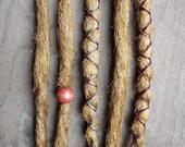 5 Custom Clip In or Braid In Dreadlock Extensions Standard Synthetic Hair Boho Dreads Hair Wraps & Bead (Caramel 27)