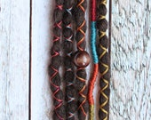 """5 pc 20"""" (READY to SHIP) Clip-In or Braid in Brunette Synthetic Hair Dreads Wrapped & Beaded Bohemian Hippie Dreadlocks"""