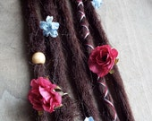 5 Custom Clip In or Braid In Dreadlock Extensions Standard Synthetic Hair Boho Flower Dreads Wraps & Bead (Dark Brown 6)