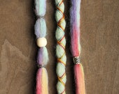 """3 Tie-Dye 14-16"""" (READY to SHIP) Clip-In Wool Dreads Wrapped & Beaded Bohemian Hippie Dreadlocks"""