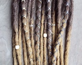 10 Custom Crocheted Dreadlock Clip In or Braid In Extensions Synthetic Hair Boho Dreads Hair Wraps & Beads (Ombre)