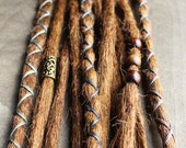 10 Custom Clip In or Braid In Dreadlock Extensions Standard Synthetic Hair Boho Dreads Hair Wraps & Beads (Strawberry 30 and Caramel 27)