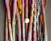 10 Custom Clip In or Braid In Dreadlock Extensions Color Mix: Whimsy Boho Tie Dye Wool Synthetic Dreads Hair Wraps and Beads