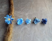 Antiqued Brass Shades of Blue Flower Dreadlock Accessory