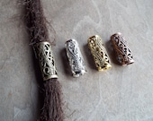 Long Ornate Filigree Swirled Pattern Dreadlock Bead Choose Antiqued Brass, Copper, Gold, or Silver