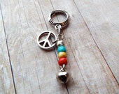 Silver Tone Peace Sign Multicolor Dreadlock Accessory