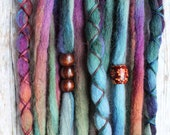 10 Custom Clip In or Braid In Dreadlock Extensions Color Mix: Firefly Boho Tie Dye Wool Synthetic Dreads Hair Wraps and Beads