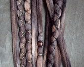 10 Custom Clip In or Braid In Dreadlock Extensions Color Mix: Dark Natural Boho Tie Dye Wool Synthetic Dreads Hair Wraps and Beads