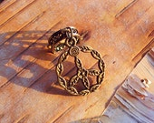 Antiques Brass Floral Peace Sign Charm ADD to your DREADS Dreadlock Accessory Extension Accessories Dread Boho Bohemian Hippie Bead