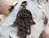 Antiqued Brass Large Hamsa Palm Dreadlock Accessory