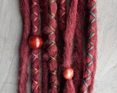 10 Custom Clip In or Braid In Dreadlock Extensions Standard Synthetic Hair Boho Dreads Hair Wraps & Beads (Burgundy)