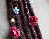 5 Custom Clip In or Braid In Dreadlock Extensions Standard Synthetic Hair Boho Flower Dreads Wraps & Bead (Dark Brown 6)